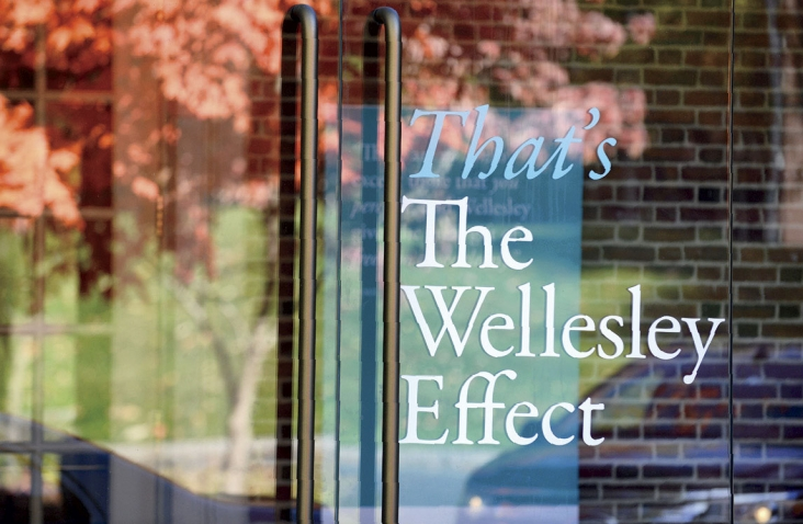 """Photo of window with """"That's The Wellesley Effect"""" sign posted in it"""