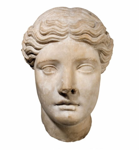 A photo shows Head of a Goddess, a Greek (Attic), 5th century b.c.e., sculpture, in the Davis Museum collection.