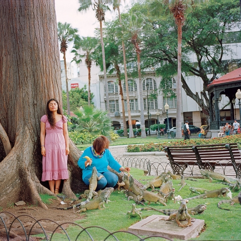 Karen Miranda Rivadeneira's 'Mom healing me from my fear of iguanas by taking me to the park and feeding them every weekend.' A young woman in a pink dress stands beside a large tree in a park with her eyes closed as an older woman crouching beside her feeds iguanas pieces of bananas