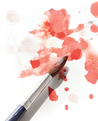 """A photo of a watercolor paintbrush evokes a """"Wellesleyscapes"""" paint party."""