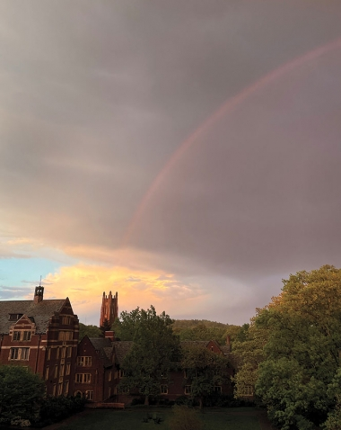 A photo shows a gorgeous rainbow arching above campus.