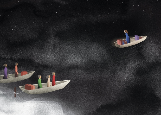 An illustration depicts people standing in small open boats, their suitcases at their feet, about to embark on a journey into the unknown.