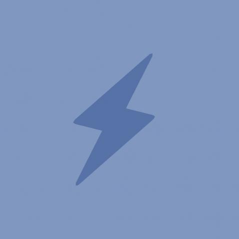 An illustration depicts a blue thunderbolt.