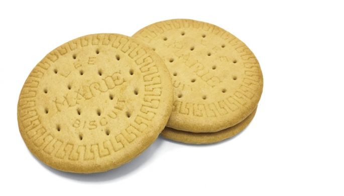 """Photograph of two """"Marie Biscuits"""", aka vanilla cookies"""