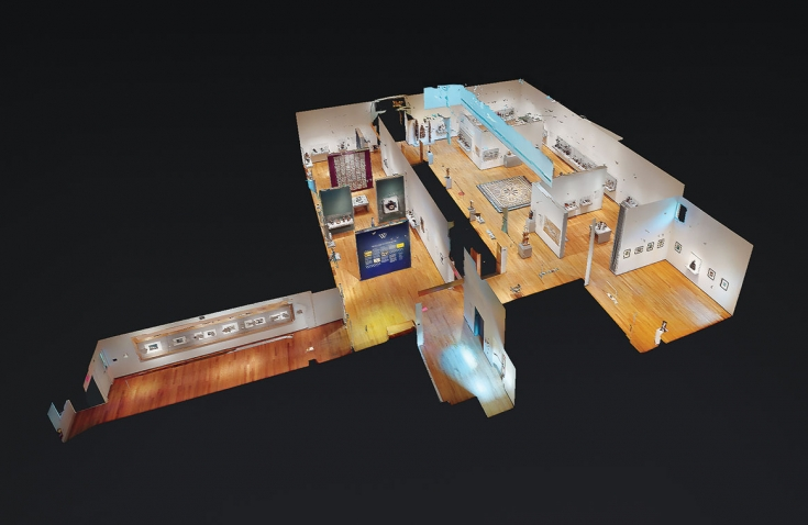 A digital recreation of a floor of the Davis museum