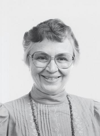 A black-and-white photo portrait shows a smiling Alice Birmingham Robinson '46,.
