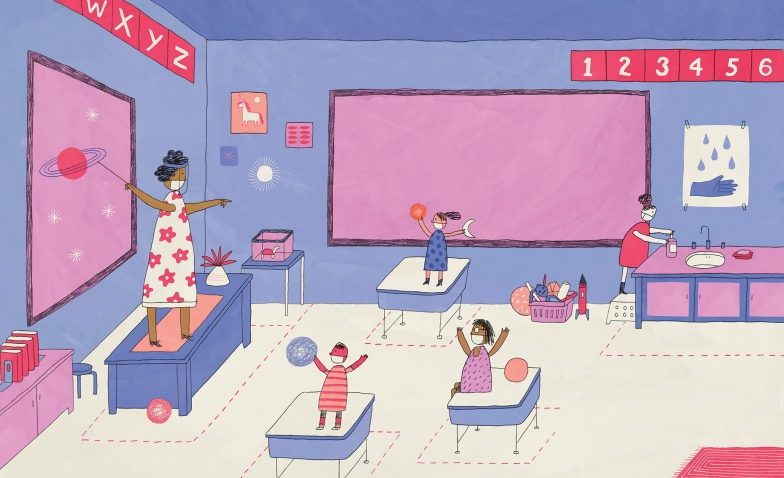 An illustration shows masked young students and a their teacher in a socially distanced classroom setting.