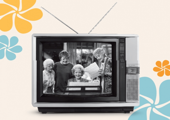 A still from The Golden Girls, with Sophia, Blanche, Rose, and Dorothy gathered around a piano