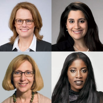 Four photos show, clockwise from top left, Brita Haugland Cantrell '84, Angeles Garcia Cassin '09, Erika Woods '05, Jane Materazzo '83.