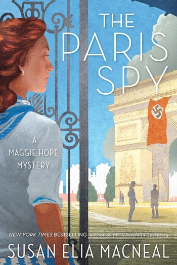 The cover of The Paris Spy is an illustration of Maggie Hope looking at the Arc de Triomphe in Paris, from which a Nazi flag flies.