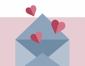 An illustration depicts an open envelope with several hearts rising from its interior.