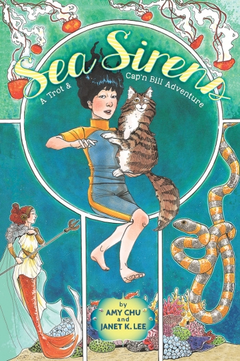 The cover image of Sea Sirens depicts an underwater scene of a Vietnamese-American surfer girl holding her one-eyed cat.