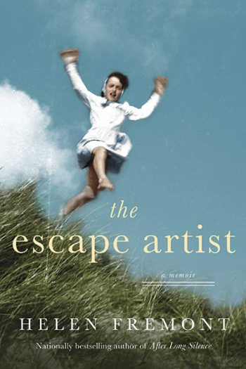 The cover of The Escape Artist displays an out-of-focus photo of a young girl leaping through a grassy field.