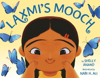 The cover of Laxmi's Mooch is an illustration of a smiling Indian-American who has hair on her upper lip.