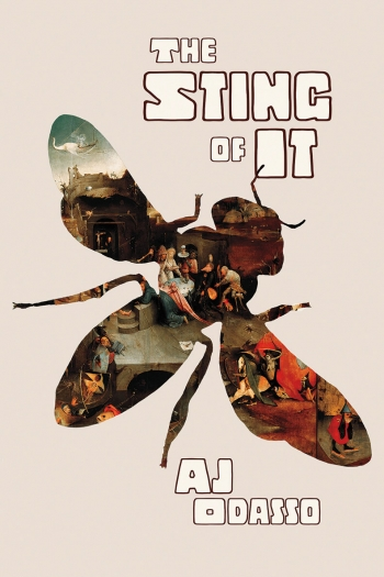 The cover of The Sting of It by A.J. Odasso '05 depicts a wasp's body, with images from a Breughel painting within the outline.