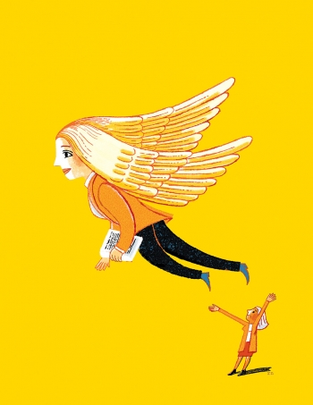 Illustration of a woman in a business suit with wings taking flight while another woman on the ground cheers