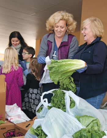 Alumnae bag heads of romaine lettuce at a community market