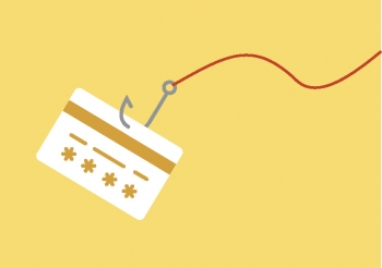 Illustration of a credit card being snagged by a fishing hook and line