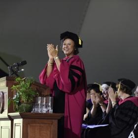 President Johnson applauds the Class of 2018.