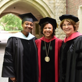 A photo of Commencement speaker Tracy K. Smith, poet laureate of the United States; Wellesley president Paula Johnson; and Laura Daignault Gates '72, chair of the Board of Trustees.