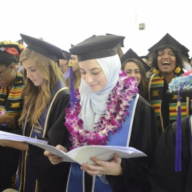 Members of the class 0f 2018 read their programs at Commencement.