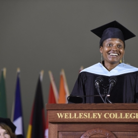A photo of Commencement speaker Tracy K. Smith