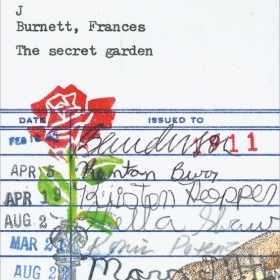 """A piece of art by Barbara Page '66 is a pictogram depicting a rose and a bird on 3-by-5-inch library checkout card for the book """"A Secret Garden."""""""