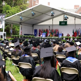A view of the stage at Commencement 2021