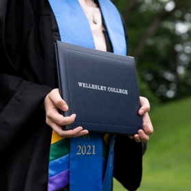 A diploma cover reading Wellesley College