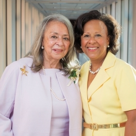 A photo of Vivian Pinn '62 with President Paula Johnson at the dedication of Pinn Hall in September.