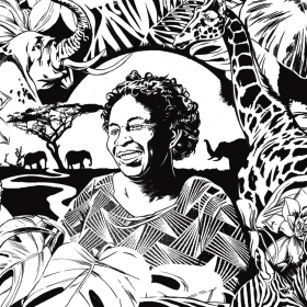 An illustration shows Mercy Ngaruiya, known as Mama Mercy, surrounded by African wildlife and vegetation.