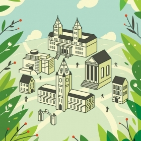 Illustration of a city surrounded by green folliage