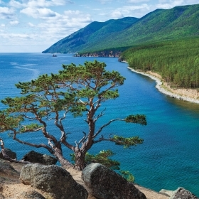 A view of Lake Baikal in Siberia.