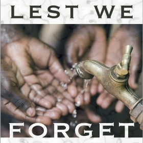 A photo shows the hands of several African people reaching for water dripping from a metal tap.