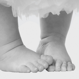 A photo shows a baby's bare feet
