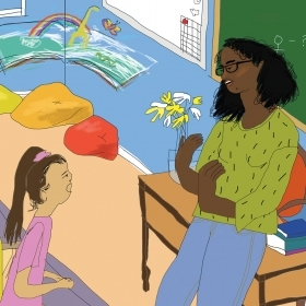 Illustration of Zoe teaching students