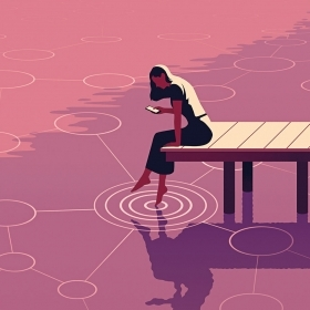 Illustration of a woman sitting on a dock, dipping her toe in the water while looking at a smart phone, while a design of linked circles representing connections grows from where her foot touches the surface