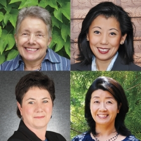Portraits of Jane Freedman Helmchen '61, Mei-Mei Tuan '88, Francine Miltenberger '78, and Mana Unchino '88
