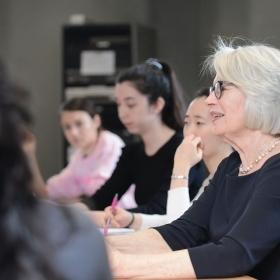 Lynne Viti and her Calderwood seminar students
