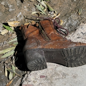 An abandoned boot on the Las Vegas Strip after the October 2017 shooting.