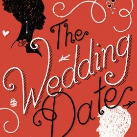 An image of the cover of The Wedding Date shows an African-American female head and a white male head in silhouette.
