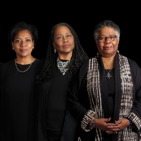 Dominique Hazzard '12, Shukri Abdi '01, Debby Saintil Previna '96, Alyce Jones Lee '81, Jill Willis '73, and Francille Rusan Wilson '69.