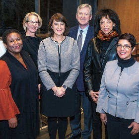 A photo of the WCAA Executive Search Committee: (front row) Carolyn Slaboden, Charlayne Murrell-Smith '73, Dolores Arredondo '95; (back row) Shivani Kuckreja '16, Laura Wood Cantopher '84, Martha Goldberg Aronson '89, Andrew Shennan, and Charlotte Hayes '75.
