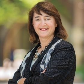 A portrait of Martha Goldberg Aronson '89, president of the Wellesley College Alumnae Association
