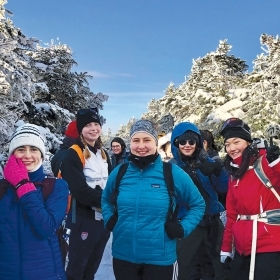 Students on a snowy mountain-climbing trip last November, partway up the Greenleaf Trail on Mt. Lafayette in New Hampshire