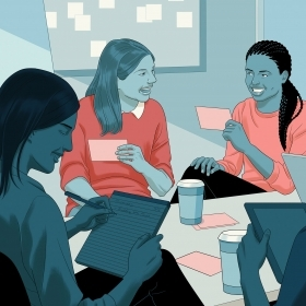 An illustration of women sitting around a conference table, talking and laughing, holding index cards and jotting notes