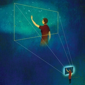 Illustration of a woman touching a glowing screen that is projected onto a starry night sky