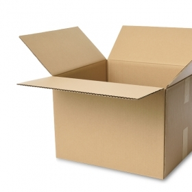 An open cardboard box, ready for packing