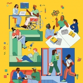 An illustration depicts a diverse range of students engaged in scientific study.