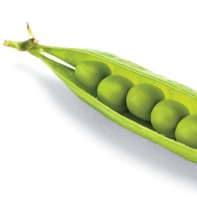 A photo of peas in a pod